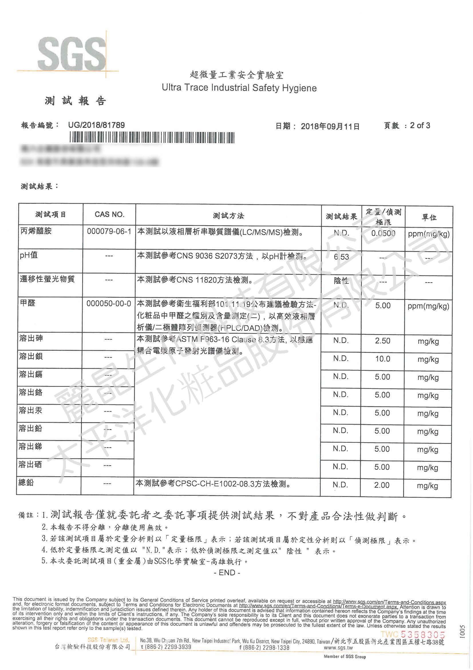 隱形面膜-天絲棉SGS測試報告2/3